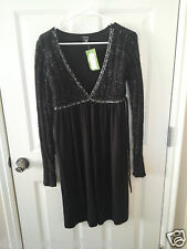 NWT CENIT WOMEN BLACK PARTIAL SWEATER DRESS SIZE MEDIUM LONG SLEEVE