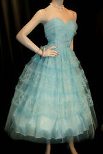 M Aqua Blue Satin Net Tulle Vtg 50s Strapless Party Prom Tea Length Gown Dress