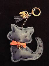 DESIGNER ACCESSORY - Royal Blue Kitty Cat Ostrich Leather Keychain Purse Charm