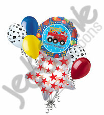 7pc Fire Engine Fun Happy Birthday Balloon Bouquet Party Decoration Truck Fighte