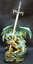 """KEEPER  Green Dragon Holding Sword    Statue   H5.5"""""""