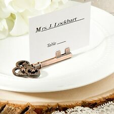 6 Vintage Inspired Skeleton Key Place Card & Photo Holders Wedding Favor Unique