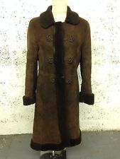 VINTAGE BAILYS OF GLASTONBURY SHEEPSKIN SHEARLING MILITARY STYLE COAT 10-12