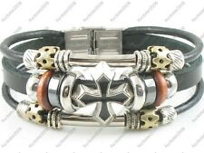 Ethnic Surfer Tribal Black Leather Bracelet Wristband Mens Womens w/Clasp #14