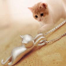 HOT!!! Hübsche Zeichnung Silber Katze Halskette Simpeler Niedlicher Schmuck