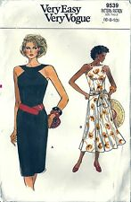 Very Easy Vogue Pattern 9539 Summer Dress Straight or Flared Skirt SZ 6-8-10 UC