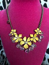 Betsey Johnson Hawaiian Luau Hawaii Yellow Flower Ladybug Crystal Necklace RARE