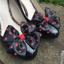 Polkadot Shoe Clips 4 Shoes Black Red Bows Spots Pinup Vintage Retro Rockabilly