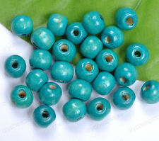 FREE SHIP 50PCS blue Wood Round Spacer Charms Beads 8MM