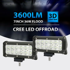 "2X 7""INCH 36W CREE LED FLOOD LIGHT BAR 3600LM OFFROAD ATV 4WD DRIVING WORK LAMP"