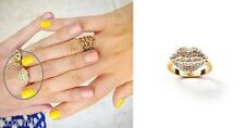 LULU FROST LE BAISER RING Crystal Lips White Glass Stones Brass Band 5 NWT $125
