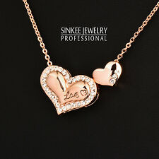 2016 New Women Double Heart Choker Necklace Chain 18K Rose Gold Plated XL335