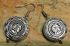 BohoCoho funky Peruvian Aztec Inca style silver dangle fashion earrings