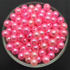 Wholesale 50PCS 8mm Pink  Acrylic Round Pearl Spacer Loose Beads Jewelry Making