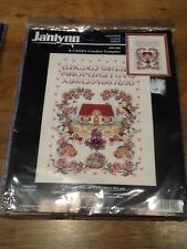 Vintage NIP Janlynn Sampler A Child's Garden Counted Cross Stitch Rabbits Floral