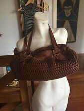 GORGEOUS Brown Leather Handbag Shoulder Bag Woven Weaving Pretty Mexico