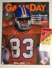 DENVER BRONCOS vs CARDINALS GAME PROGRAM and TICKET STUB 8/31/1990