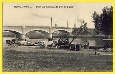 cpa MONTEREAU Seine et Marne PONT du CHEMIN de FER de l'EST Chars à Boeufs Grue