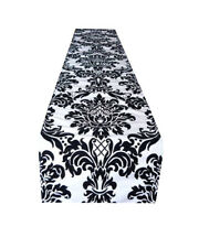 Table, Wedding runner Bed throw Black & White Damask Taffeta Straight ends 75""