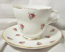 VINTAGE CROWN TRENT BONE CHINA ENGLAND CUP AND SAUCER RED ROSE GOLD TRIM