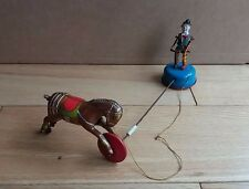 Vintage antique gama wind up tin clown avec cheval, tin toy, allemagne-rare