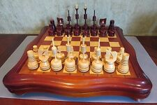 2000s Russian Wooden Gothic Style CHESS Set with board/box rare