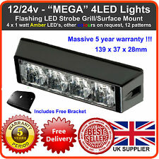 4LED Flashing Grill Light 12/24v Lightbar Truck Recovery Strobe Amber led beacon