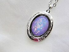 JRJ77 MOONSTONE PURPLE FIRE opal WEDDING LILAC LAVENDER LOCKET Necklace Pendant