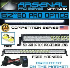 "No.1 5D 52"" Pro Optics Arsenal Offroad LED Light Bar New 2018 Design Flood/"