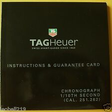 TAGHEUER CHRONOGRAPH INSTUCTIONS AND GUARANTEE CARD