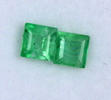 Natural Emerald Square Cut 3.75 mm Pair 0.62 Cts Unheated Green Loose Gemstones