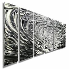 Large Abstract Silver Metal Wall Art Painting Decor - Ripple Effect by Jon Allen