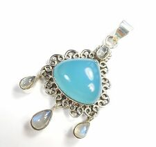 BLUE CHALCEDONY RAINBOW MOONSTONE 925 STERLING SILVER PENDANT UK HALLMARKED