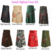 "Great Gift: 100% Cotton Utility kilts Multi Colour Size from 26"" To 50"""