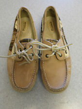 Sperry Top- Sider tan leather with brown plaid sides boat shoes. Women's 9 M