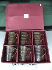 6 Oriental Ceramic Mugs in Brown & Gray with Floral Pattern NIB
