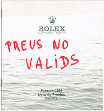 Vintage ROLEX 1984 Price List Spain Retail 16800 16550 16660 16750 6265 5500 OEM
