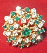 Sparkling 18K Yellow Gold HGE Cocktail Ring Size 9ish w/faux Emeralds & Diamonds