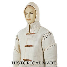 Medieval thick padded white  Gambeson coat Aketon armor jacket SCA LARP