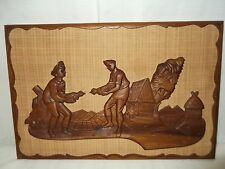 """Vintage Mid Century MCM Wood Carved Wall Hanging Polynesian """"COCK FIGHT"""" 60's"""