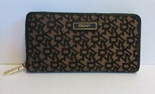 DKNY Signature canvas wallet Zipper black gold leather Donna Karan logo brown