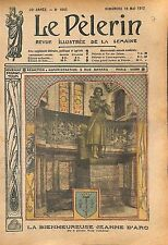 Statue Jeanne d'Arc la Princesse d'Orléans Eglise Catholique 1912 ILLUSTRATION