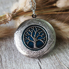 Tree Of Life Antique Silver Tone Blue Picture Locket Charm Pendant Necklace