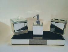 New Bella Lux 4 pc Glass Crystals Bathroom Set soap dish dispenser Silver
