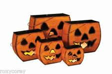 Halloween Set of 5 Metal Scary Pumpkin Luminary 16 14 12 9 7 in H NIB