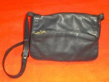 PURSE / Shoulder Bag LEATHER CO. by LIZ CLAIBORNE, Dark Navy Pebbled Leather