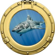 "12"" Porthole Ocean Window View SHARK #4 BRASS Wall Sticker Graphic Art Decal NEW"