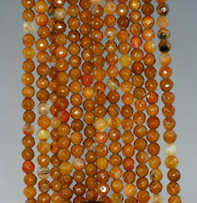 4MM  AGATE GEMSTONE YELLOW BROWN FACETED ROUND LOOSE BEADS 15""