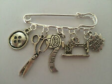 I LOVE SEWING VINTAGE SILVER TONE KILT PIN BROOCH PRESENT THANK YOU IN GIFT BAG