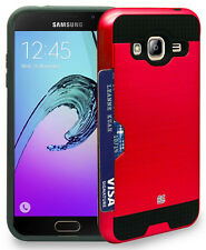 RED CREDIT CARD SLOT HARD WALLET SHELL CASE COVER FOR SAMSUNG GALAXY AMP PRIME